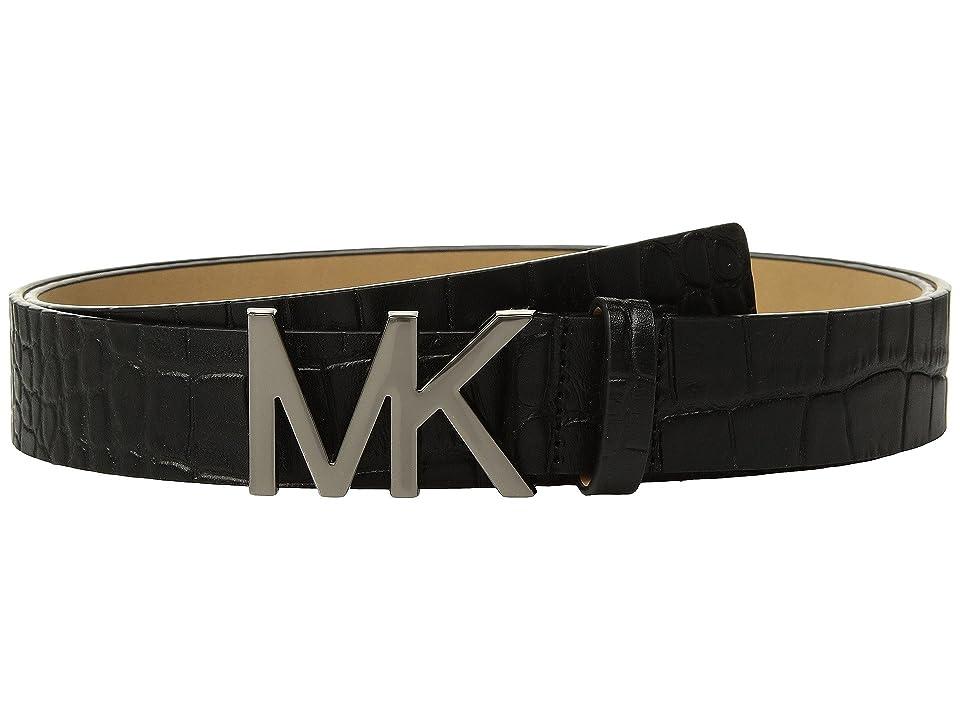 MICHAEL Michael Kors Croc Logo Belt (Black) Women