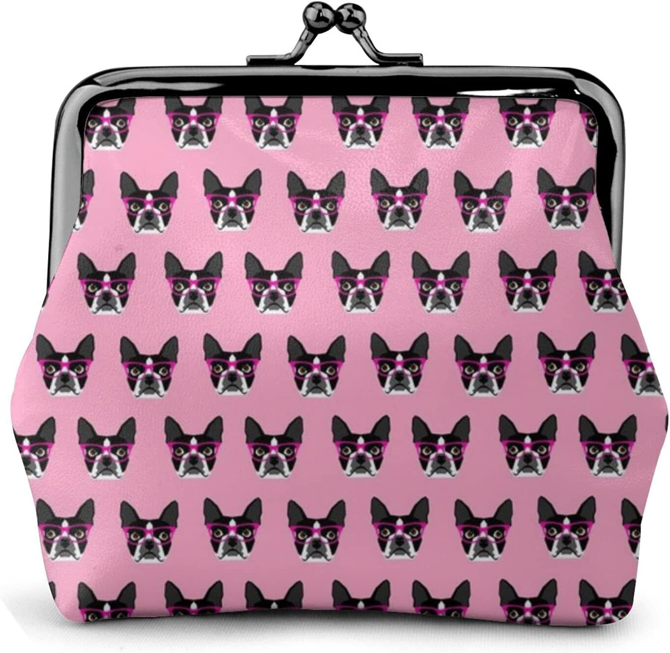 Boston Terrier Glasses 996 Leather Coin Purse Kiss Lock Change Pouch Vintage Clasp Closure Buckle Wallet Small Women Gift