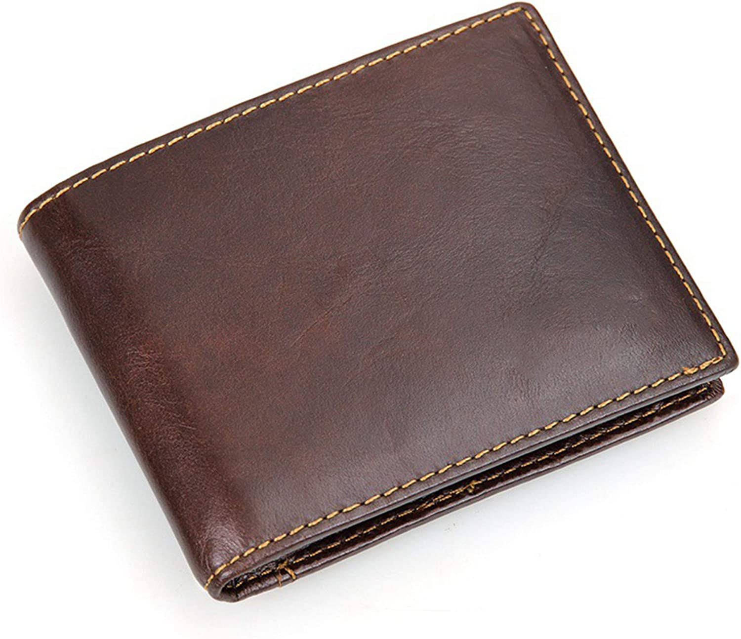 Mens Genuine Leather RFID Blocking Security Bifold Wallet with Removable 2 ID Windows(Dark brown)