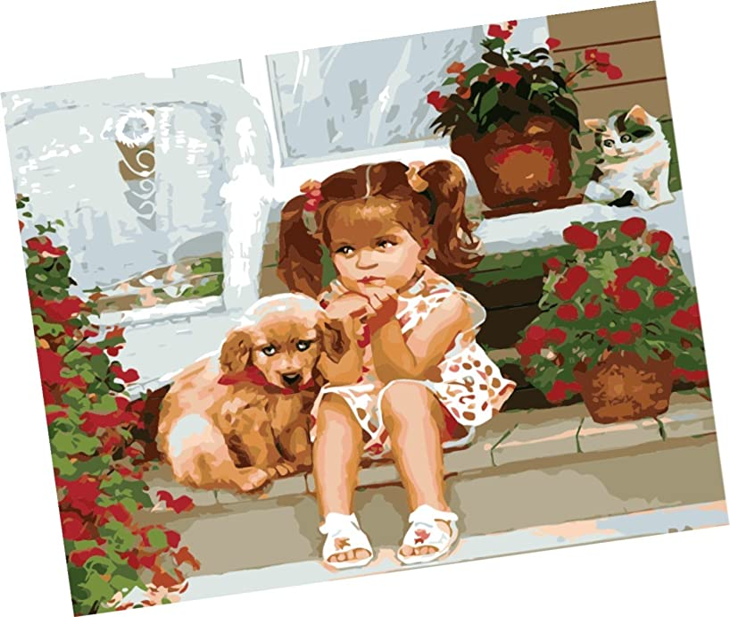 Wowdecor Paint by Numbers Kits for Adults Kids, Number Painting - Little Girl and Puppy 16x20 inch (Frameless)