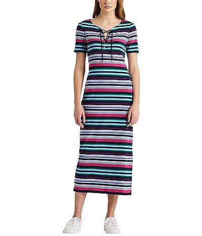 LAUREN Ralph Lauren Striped Lace-Up Cotton Midi Dress