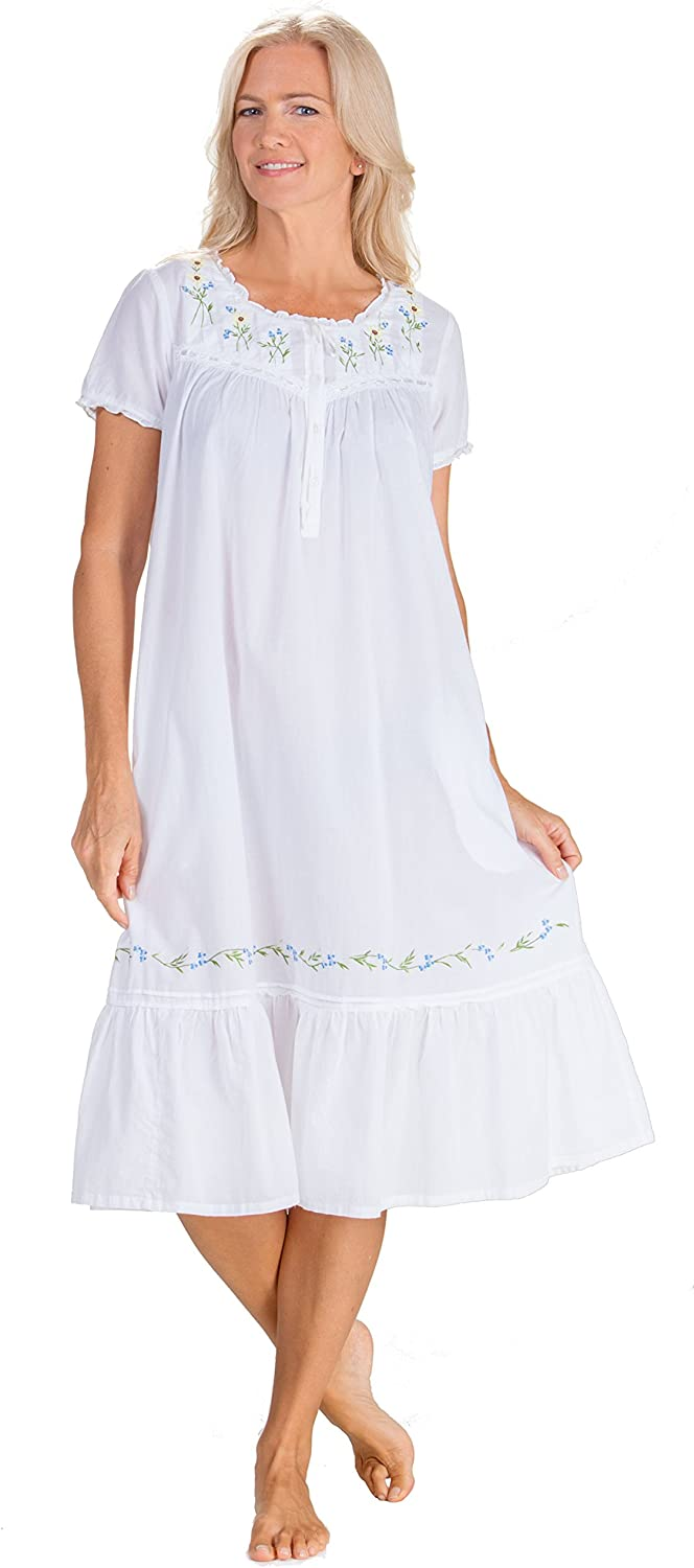 LA CERA Nightgowns - 100% Cotton in Sleeve gift Short Flow Gown Super intense SALE Sunny