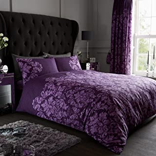 Gaveno Cavailia Luxurious Empire Damask Bed Set with Duvet Cover and Pillow Cases, Polyester-Cotton, Purple, Super-King