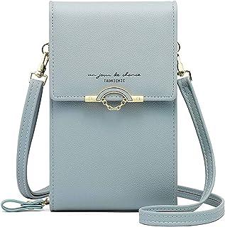Handy Umhängetasche Damen Klein Handytasche zum Umhängen Leder Schultertasche Crossbody Brieftasche mit Kartenfächer Verst...