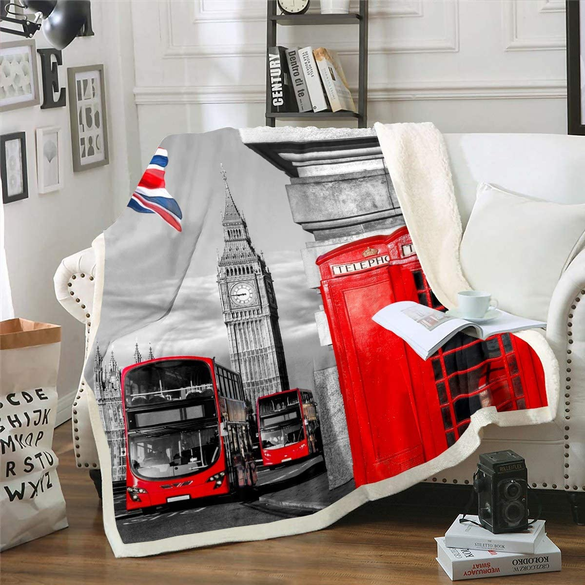 London Fleece Throw Blanket Red Popular shop is the In a popularity lowest price challenge Phone Blank Booth Sherpa Printed