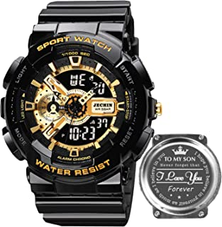 Jechin Men's Sport Luminous Black-Gold Personalized Engraved Digital Watch with Resin Strap