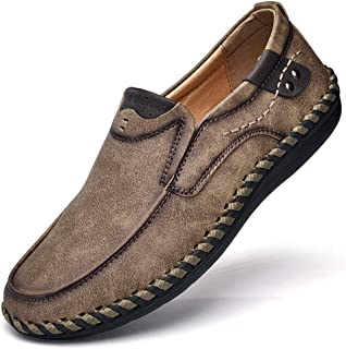 Mens Penny Loafers Comfortable Leather Casual Shoes Breathable Driving Shoes Flats Boat Shoes Slip on