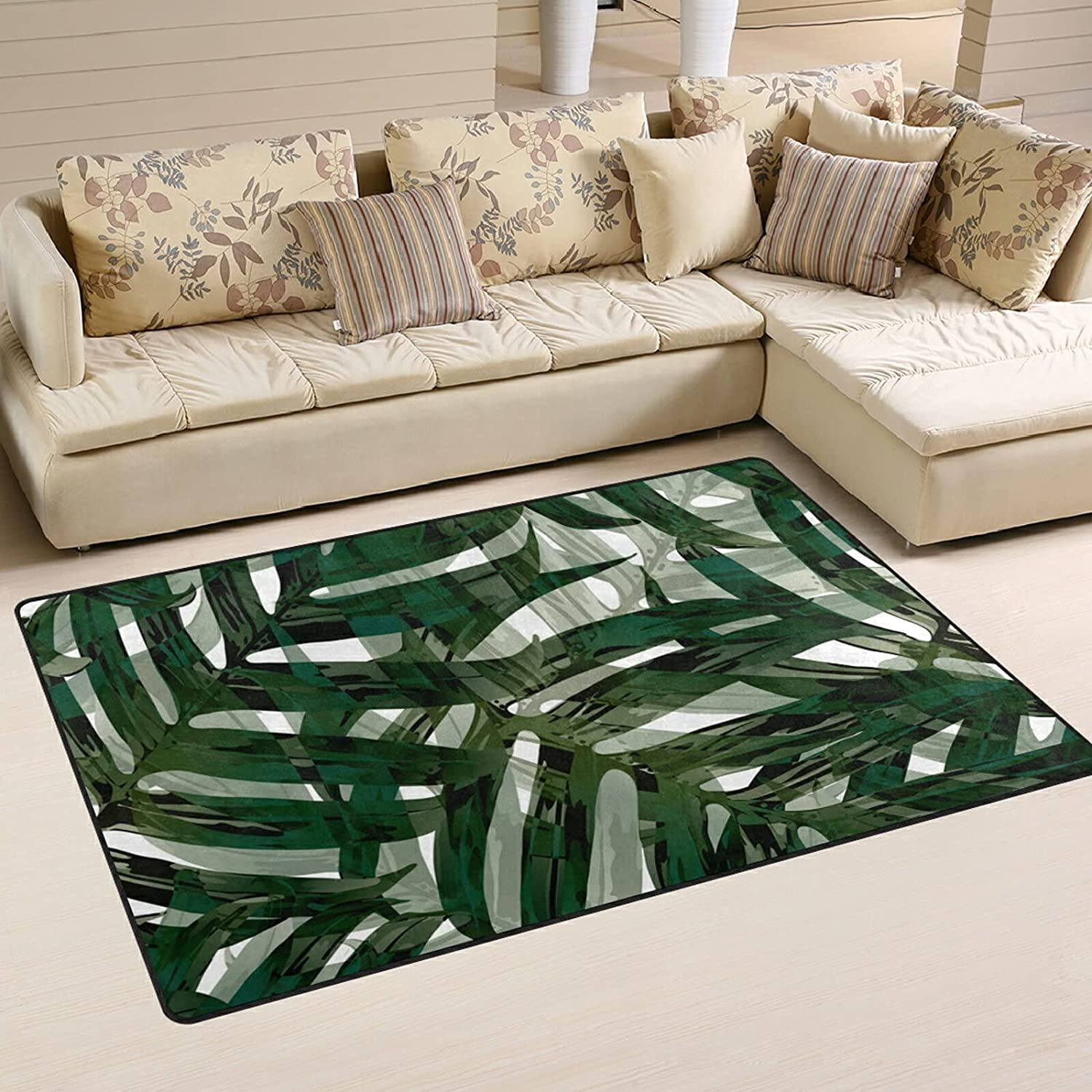 Palm Monstera Leaves Our shop OFFers the best service Large Soft Area New sales Rugs Playmat Rug Nursery Ma