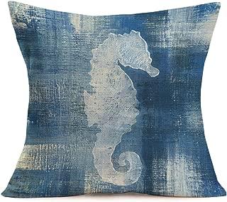 Smilyard Vintage SeaHorse Pillow Cover Cotton Linen Ocean Blue Series Nautical Decorative Pillow CoversBeach Theme Cushion Cover Home Decor Pillowcase for 18x18 Inch