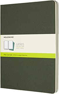 """Moleskine Cahier Journal, Soft Cover, XL (7.5"""" x 9.5"""") Plain/Blank, Myrtle Green, 120 Pages (Set of 3)"""