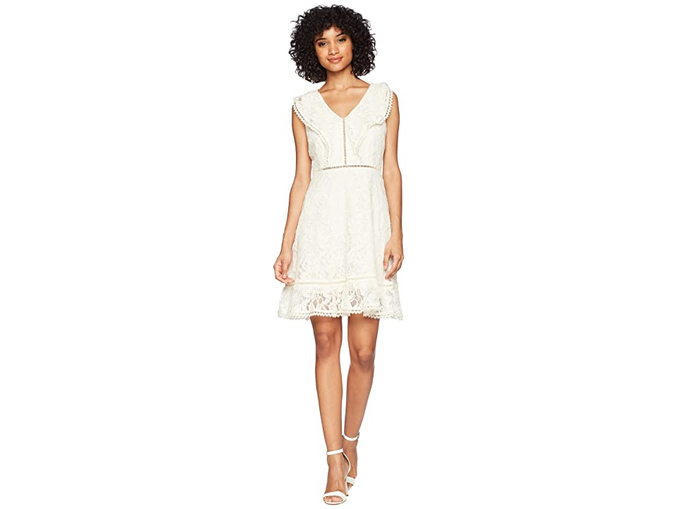 BB Dakota Rease Ruffle Detail Fit and Flare Dress (Antique Ivory) Women