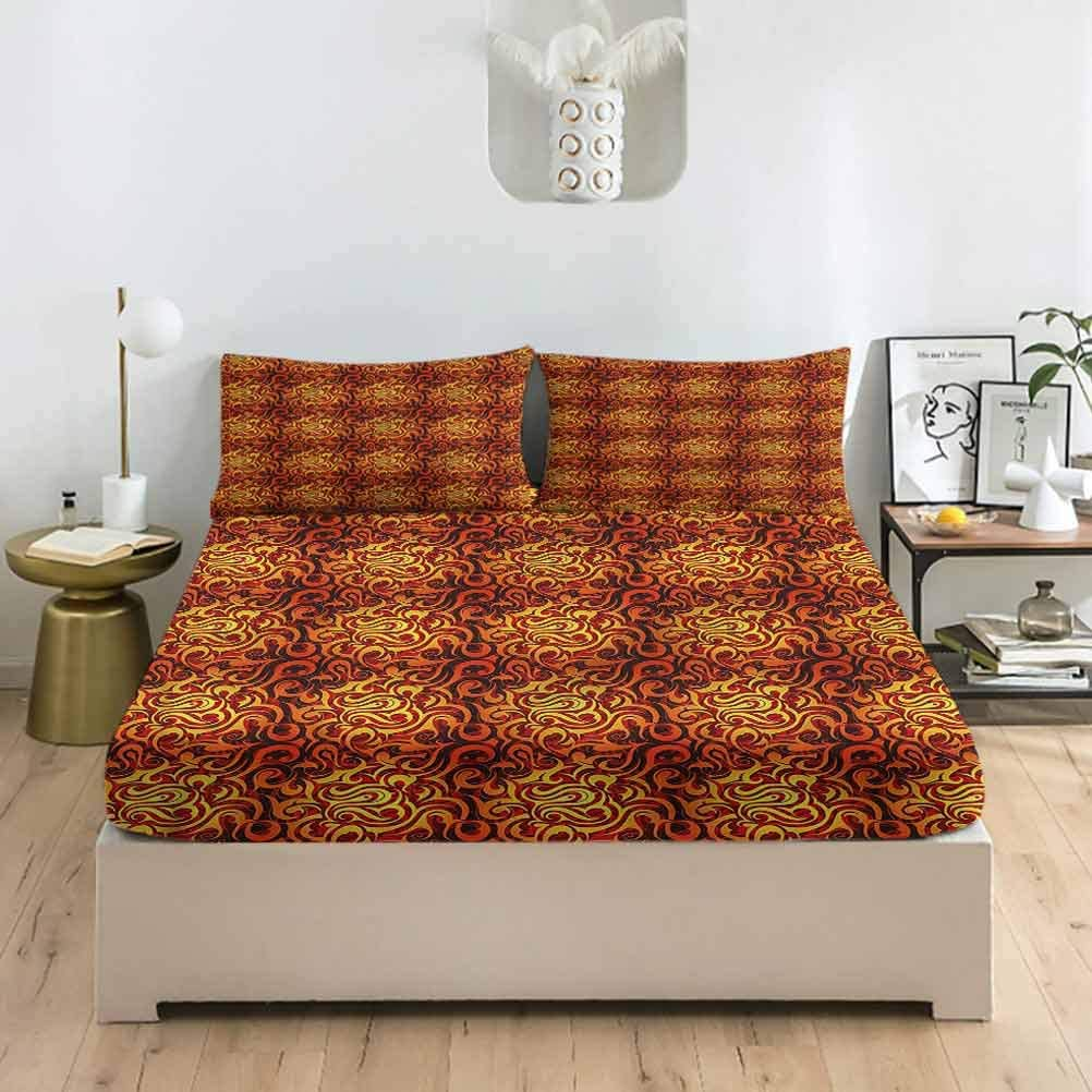 Abstract Lowest price challenge Twin XL Size Bed Fitted Sheet Point Floral Max 71% OFF Set Leaf and