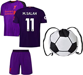 Rhinox Liverpool Salah #11 Youth Soccer Jersey Home/Away Short Sleeve Kit Shorts Kids Gift Set
