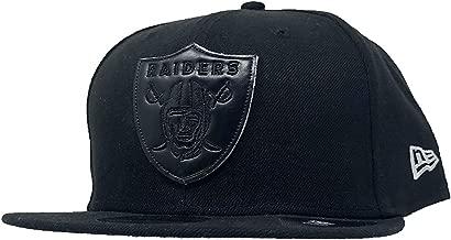 New Era Oakland Raiders NFL Football 59Fifty Fitted Baseball Hat Flat Bill 5950 Cap (Black Leather Pop Fit, 8)