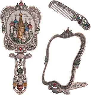 Nerien Vintage Castle Metal Hand Mirror Antique Russian Style Handheld Vanity Mirror Comb Set Copper
