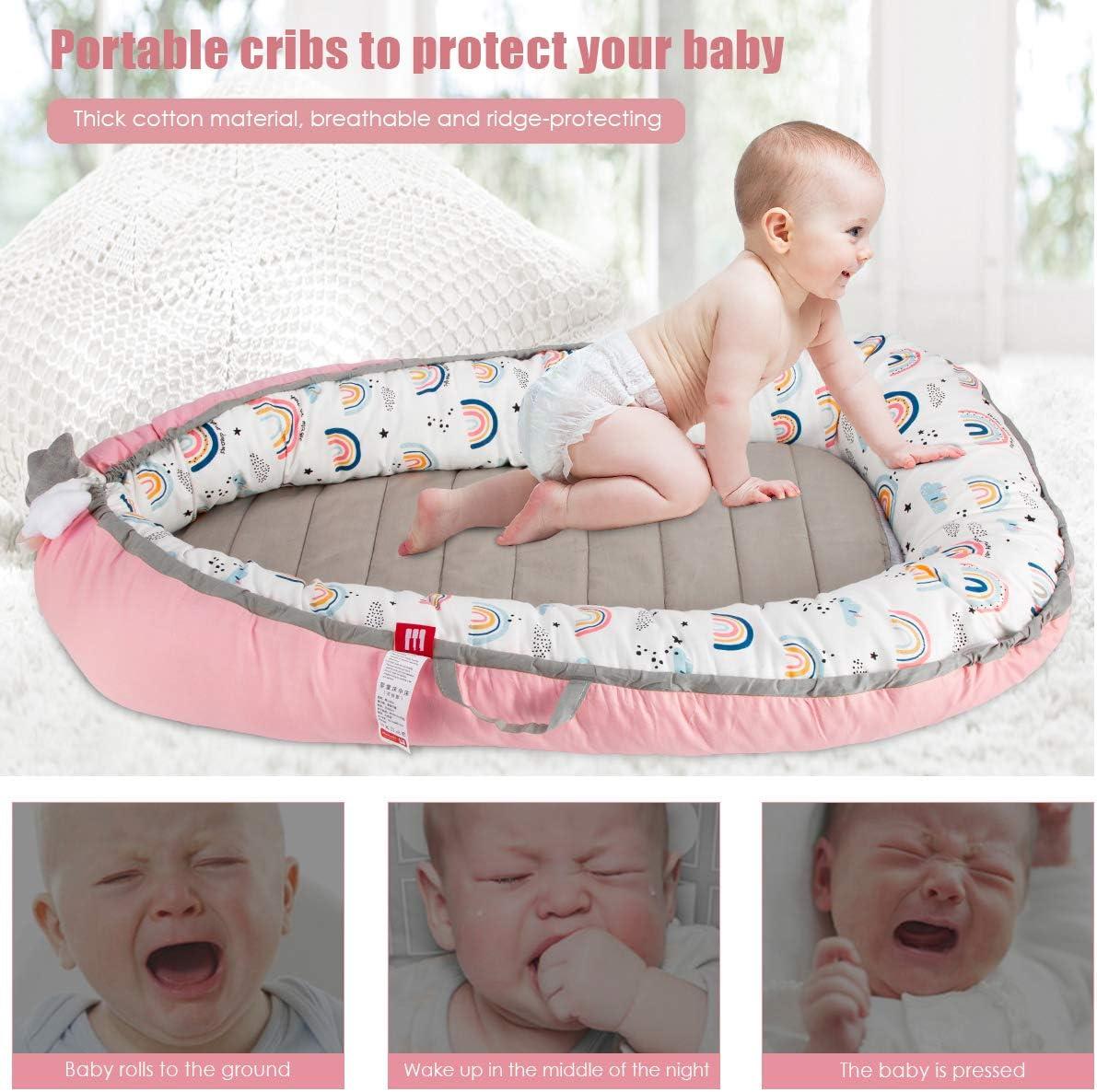 Puseky Chaise longue portable pour bébé à la maison et au voyage pour nouveau-né bébé avec coussin d'urine pour filles et garçons 0-12 m Rose + arc-en-ciel.