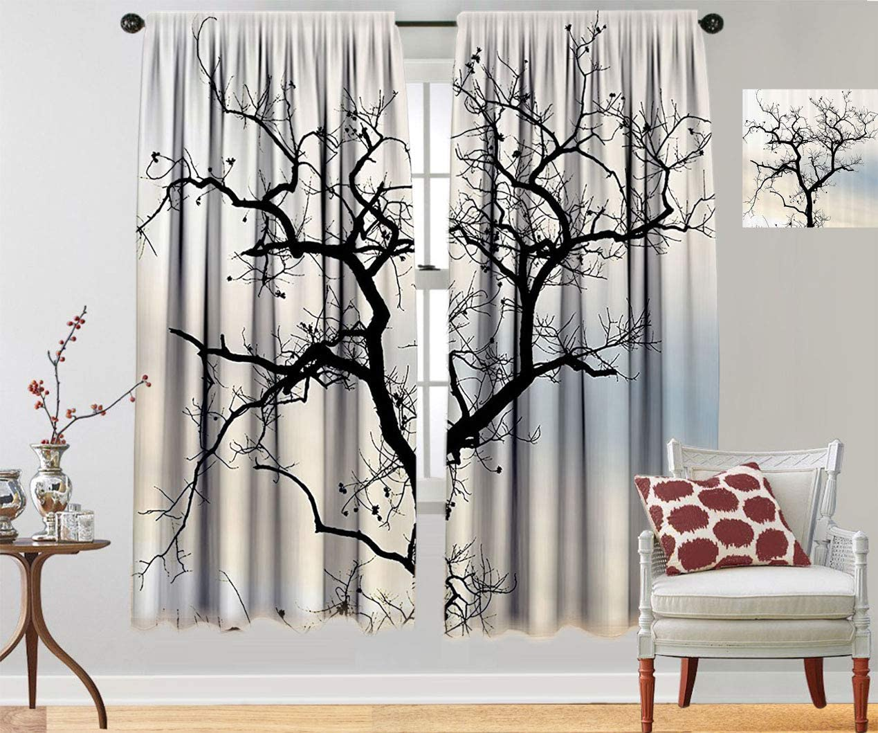 Woodsy Decor Personalized Curtains A Black in Manufacturer direct delivery Tree lowest price Lonely Fall