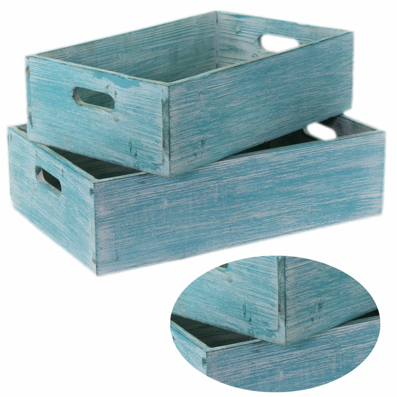 2 madera cajas de vino madera caja de fruta (Macetero decorativo caja turquesa: Amazon.es: Hogar