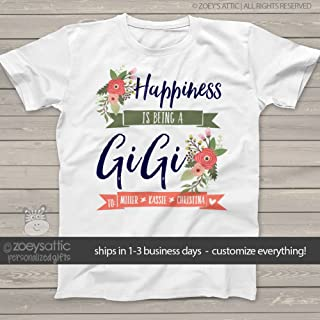 gigi shirt | happiness is being a gigi | nana or grandma UNISEX shirt personalized with grandkids names | mother's day shirt