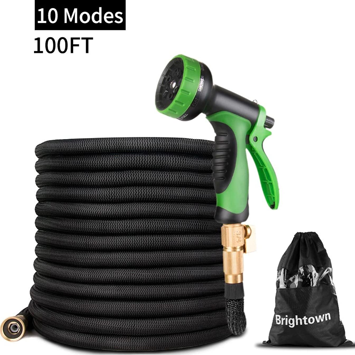 100FT Garden Hose-Heavy Duty Strongest Expandable Magic Water Hose with Double Latex Core, Solid Brass Connector 10 Pattern Spray Nozzle, Black