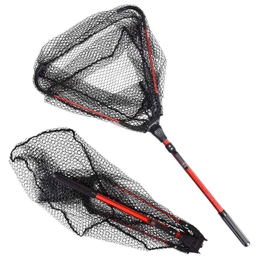 徹底的に許さない第二タモ網 折りたたみ式 玉網 ランディングネット ワンタッチ組立 アルミ柄 フィッシング 釣り コンパクト