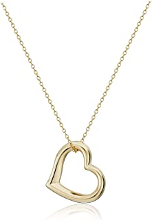 18k Yellow Gold Plated Sterling Silver Open Heart Pendant Necklace, 18""