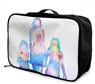 水彩家族画 キャリーオンバッグ 旅行バッグトラベルバッグエアトラベル荷物ボストンバッグトラベルトラベル用品収納バッグ ユニセックスバッグ 手提げバッグ