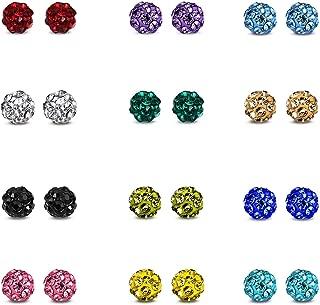 JewelrieShop Rhinestones Crystal Ball Stud Earrings Set Fireball Disco Ball Pave Bead Earrings Hypoallergenic for Teen Girls Women