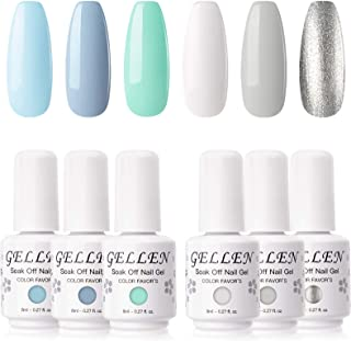Gellen Gel Nail Polish Set, Mint Color Sky Series 6 Colors - Fresh Blue White Mint Silver Colors, Popular Nail Art Soak Of...
