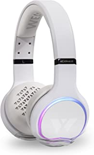 Wearhaus ARC+ Bluetooth Wireless Sharing Headphones, HiFi Bass Wired Headset w/Mic, Color Changing LED Light, On Ear Noise Isolating Soft Comfort Earpads for Gaming Travel Work, Touch Control - White