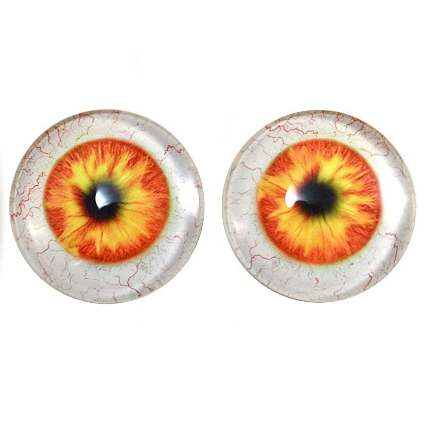 40mm Pair of Orange and Yellow Human Glass Eyes, for Jewelry Making, Dolls, Sculptures, More