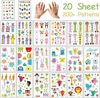 Kids Temporary Tattoos, 20 Sheets Various Zoo Animals Tattoos Sticker with Dog Cat Lion Pig Elephant Giraffe for Girls & Boys Body Art, Jungle Woodland Animal Party Favors