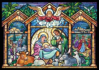 Stained Glass Nativity Religious Christmas Cards - Box of 15 Cards & 16 Envelopes