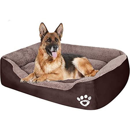 Amazon Com Puppbudd Pet Dog Bed For Medium Dogs Xxl Large For Large Dogs Dog Bed With Machine Washable Comfortable And Safety For Medium And Large Dogs Or Multiple Xxl Large 35 4 X27 6 Brown Kitchen
