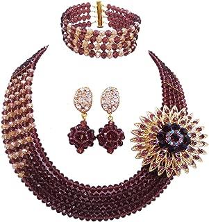aczuv 5 Rows Nigerian Beads Jewelry Set African Beads Necklace Wedding Party Jewelry Sets