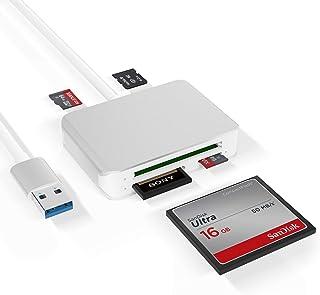 قارئ بطاقة USB3. 0، 5 في 1 USB 3. 0 (5 جيجابايت) عالي السرعة TF/SD/M2/CF محول بطاقة الذاكرة سولت كومبو، قارئ بطاقة الألومن...