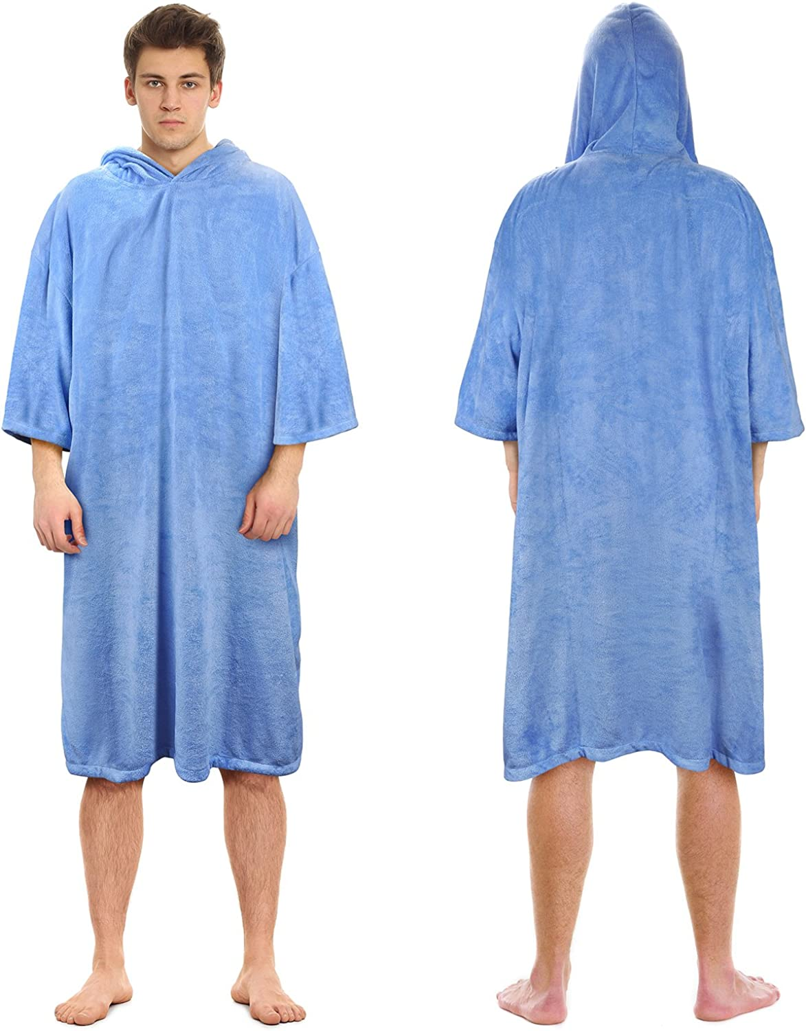 Surf Poncho Towel with Hood for Adults Women Men, Microfiber Beach Poncho Robe for Swimwear Bathing Suit Wetsuit Changing Out