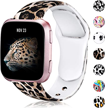 featured product Wepro Floral Bands Compatible with Fitbit Versa & Versa Lite SE SmartWatch for Women Men, Silicone Fadeless Pattern Printed Replacement Band, Small, Large, Multi Colors