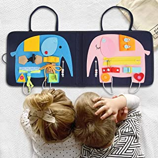 FUNNY SUPPLY Toddler Busy Board - 16 Sensory Toys for Fine Motor Skills - Montessori Basic Skills Educational Learn to Dress Latches Toy, Elephant Board Soft Foldable Travel Board, Car Airplane