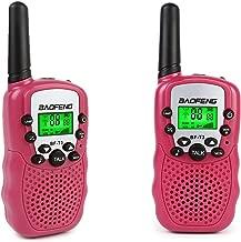 BaoFeng BF-T3 Walkie Talkies for Kids 22 Channel Two Way Long Range Handheld Radio Child kids Walkie Talkie Built-in Flashlight Microphone (2 Pcs) Pink