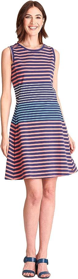 Sarah Dress - Navy Coral Stripes