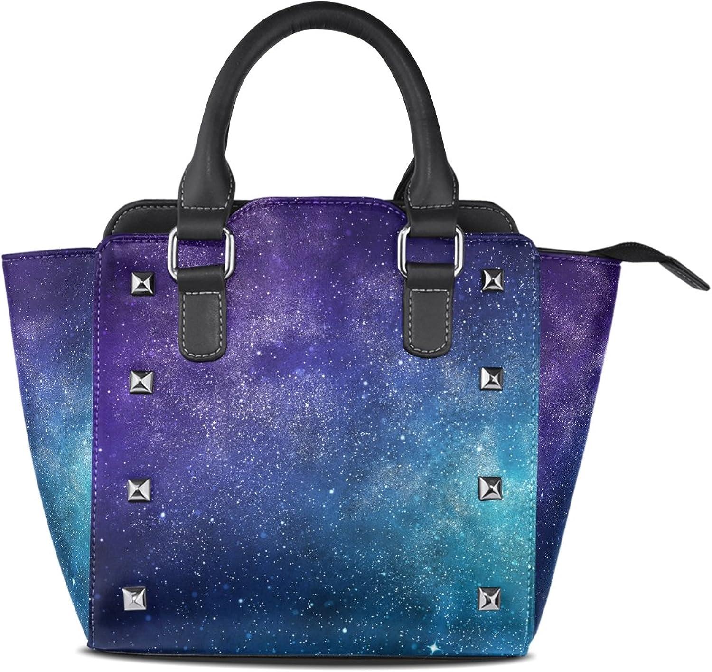 My Little Nest Women's Top Handle Satchel Handbag Universe Stars Nebula Galaxy Ladies PU Leather Shoulder Bag Crossbody Bag