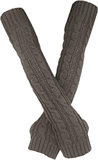 Womens Winter Warm Over Elbow Long Fingerless Thumb Hole Gloves Mittens Knitted Arm Warmer