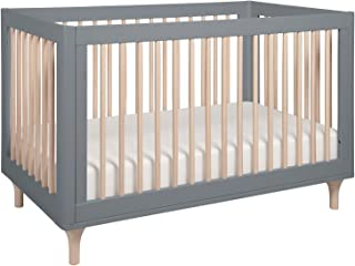 Babyletto Lolly 3 in 1 Convertible Crib with Toddler Bed Conversion Kit, Grey/Washed Natural