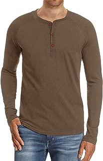 Men's Slim Long-Sleeves Henley T Shirt Casual Lightweight Basic Tops