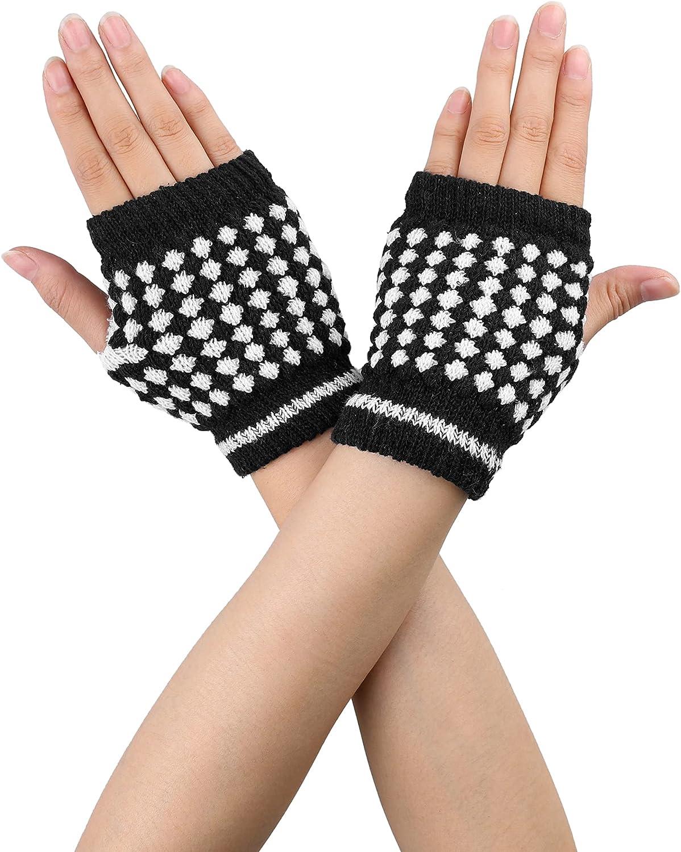 Allegra K Women Black White Stretchy Thumb Hole Knit Fingerless Gloves Pair