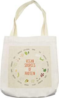 Ambesonne Vegan Tote Bag, Vegan Sources of Protein Concept with Vegetables Seeds and Names in Circular Chart, Cloth Linen Reusable Bag for Shopping Books Beach and More, 16.5