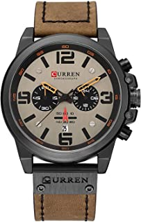 Mens Leather Strap Watches Chronograph Classic Black Casual Dress Stainless Steel Case Waterproof Date Analog Quartz Multifunction Military Watch