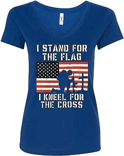 I Stand for The Flag I Kneel for The Cross Women's V-Neck T-Shirt Tee
