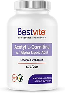 Acetyl L-Carnitine 500mg & Alpha Lipoic Acid 200mg per Capsule with Biotin (120 Vegetarian Capsules) - No Stearates - Vega...